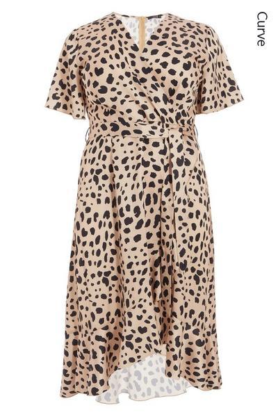 Curve Satin Leopard Midi Dress